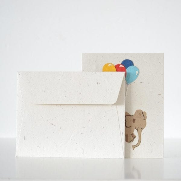 Birthday card with Elephant and balloons and envelope