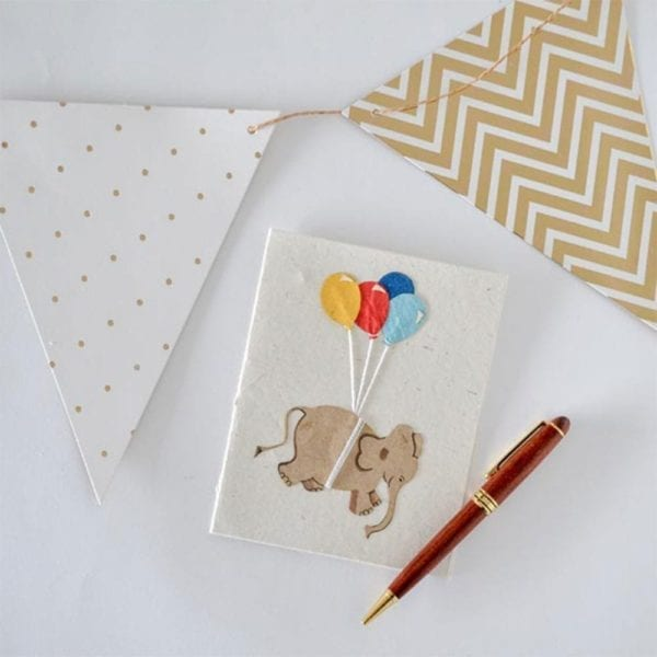 Birthday card with Elephant and balloons decor
